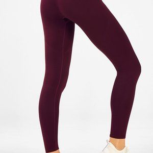 Fabletics Mid-Rise Seamless Rib 7/8 in Burgundy